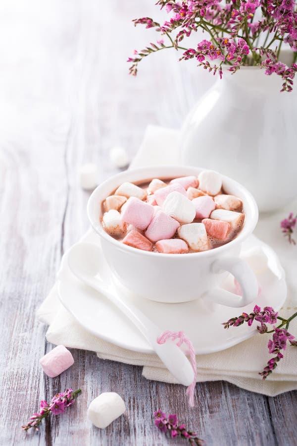 Chocolat chaud avec de mini guimauves image libre de droits