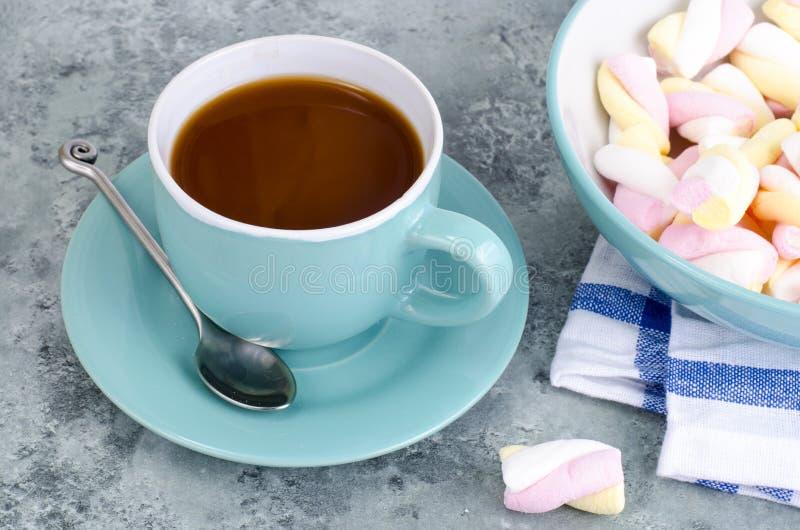 Chocolat chaud dans la tasse bleue avec des guimauves photos stock