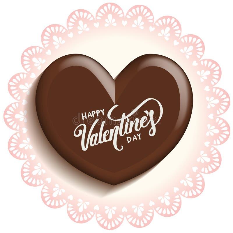 Chocolat de coeur pour le jour de valentines sur le papier de napperons de dentelle illustration libre de droits