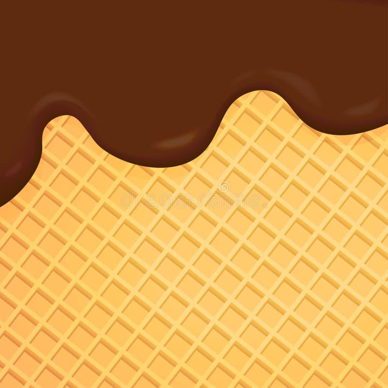 Chocolat de fonte avec le fond de gaufrette illustration stock