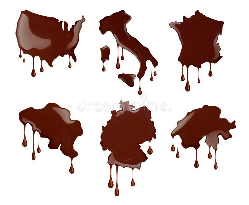 Chocolat du monde Contour conceptuel des pays illustration libre de droits