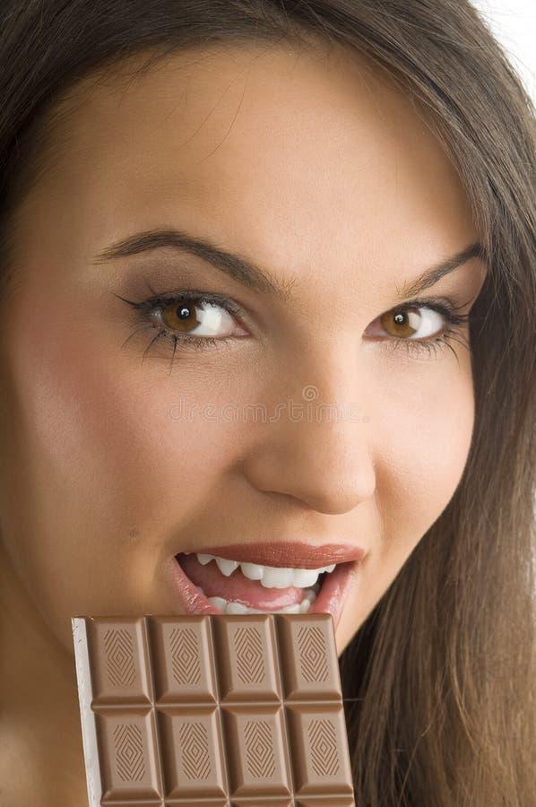 Chocolat et sourire images stock