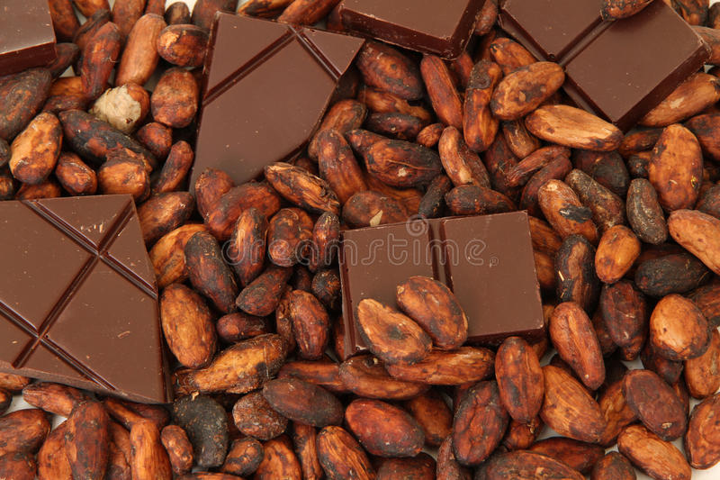 Chocolat fin d'origine avec des graines de cacao photos stock