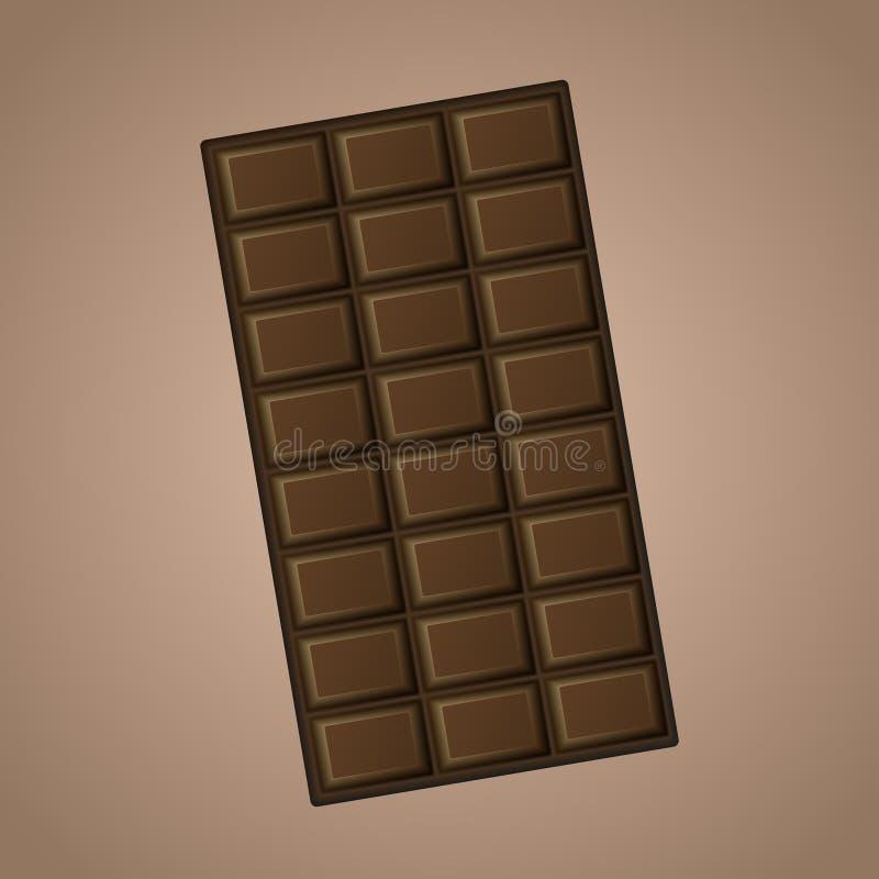 Chocolat foncé réaliste délicieux de vecteur d'isolement sur le fond brun illustration libre de droits