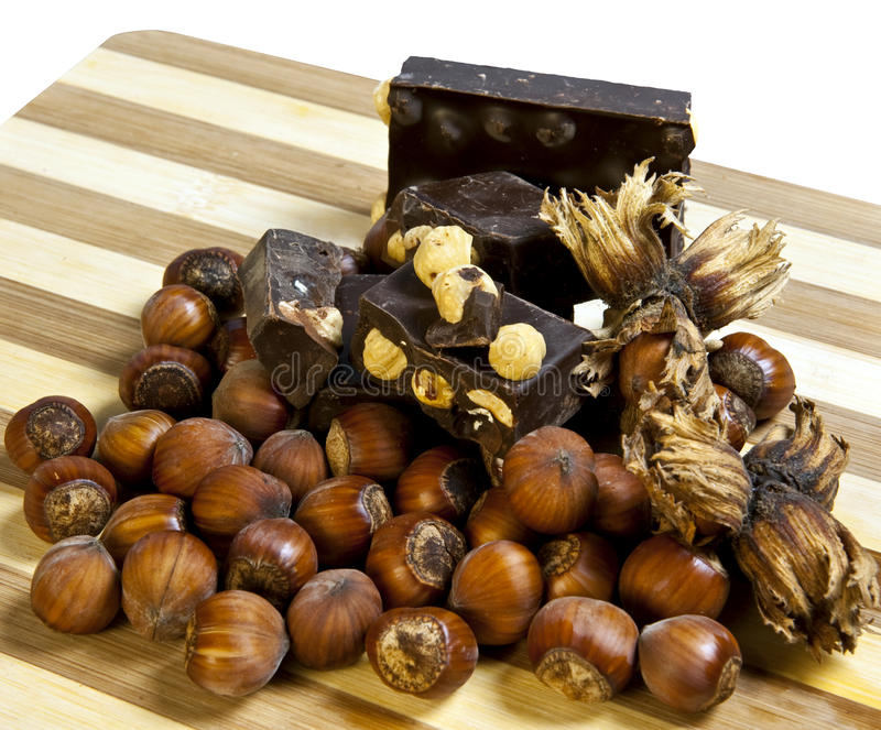 Chocolat nougat and hazelnuts stock photography