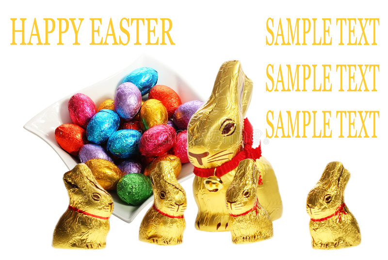 chocolat Pâques de lapins d'or images libres de droits