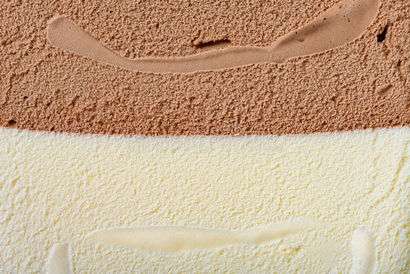 Chocolat plus la glace à la vanille comme fond et texture photographie stock libre de droits