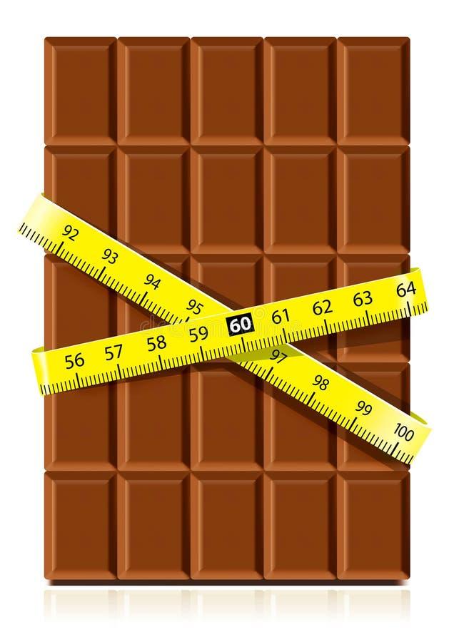 Chocolat réaliste avec la bande de mesure illustration libre de droits