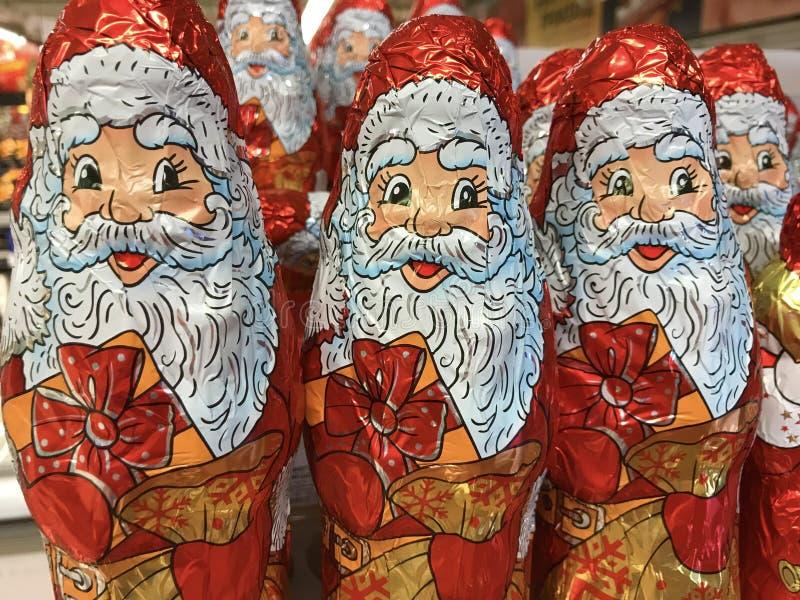 Chocolat Santa Claus de Noël image stock