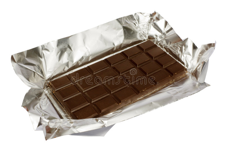 Chocolat sur un clinquant photo stock