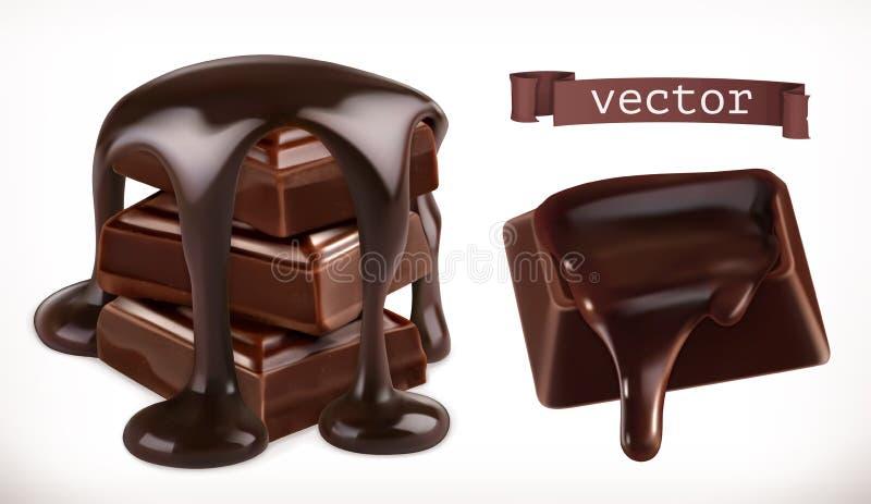 Chocolate ícone realístico do vetor 3d ilustração do vetor