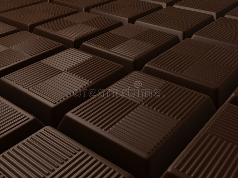 Chocolate. 3d rendered illustration from many pieces of chocolate vector illustration
