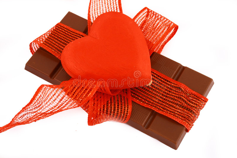 Chocolate. And heart present in valentine's day stock photo
