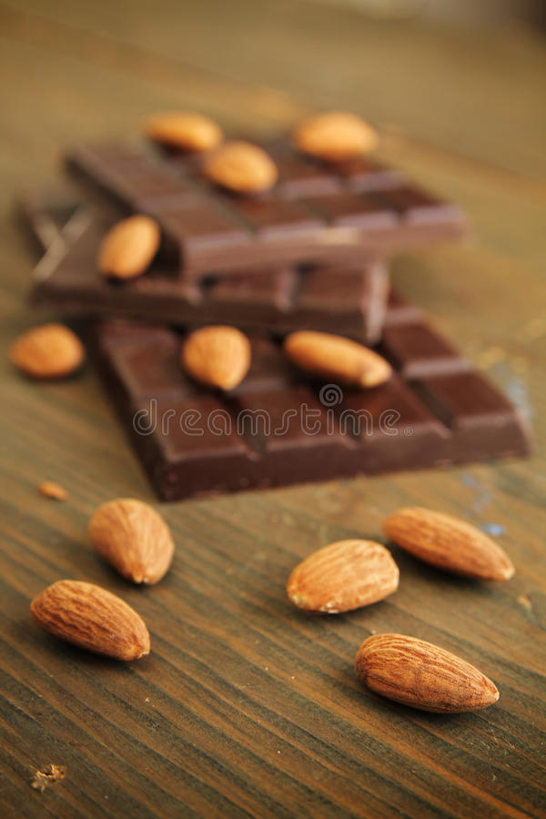 Chocolate and almond stock photos