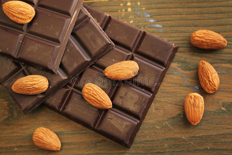Chocolate and almond royalty free stock photography