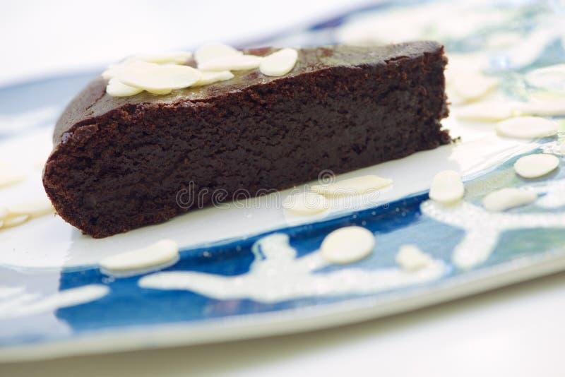 Chocolate and almond cake stock image
