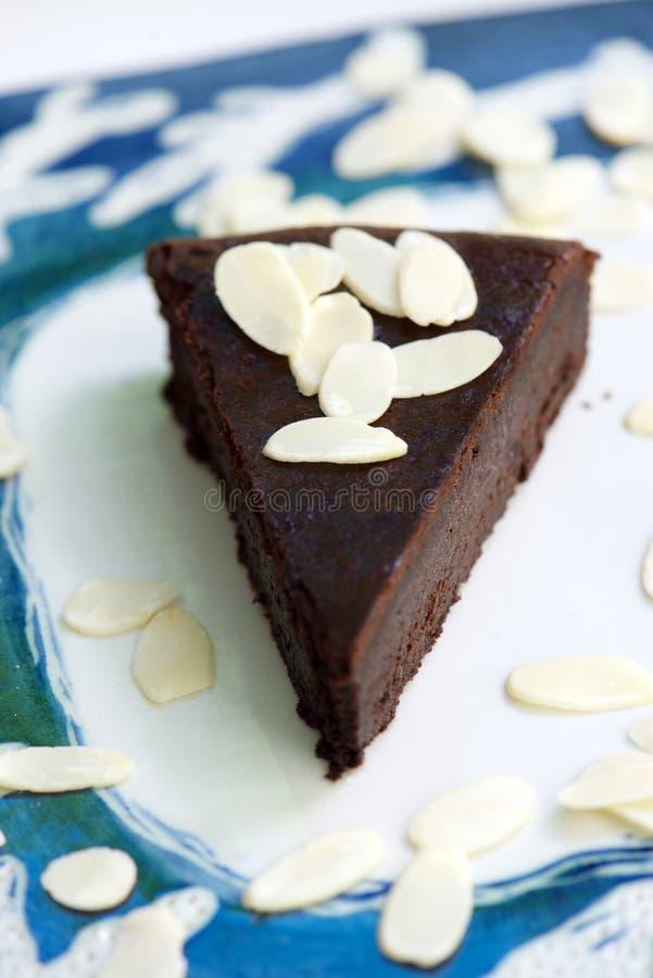 Chocolate and almond cake stock photos