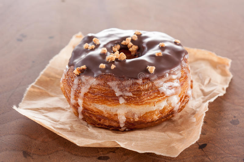 Chocolate and almond croissant and doughnut mixture stock photography