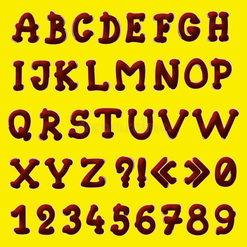 Chocolate alphabet stock illustration