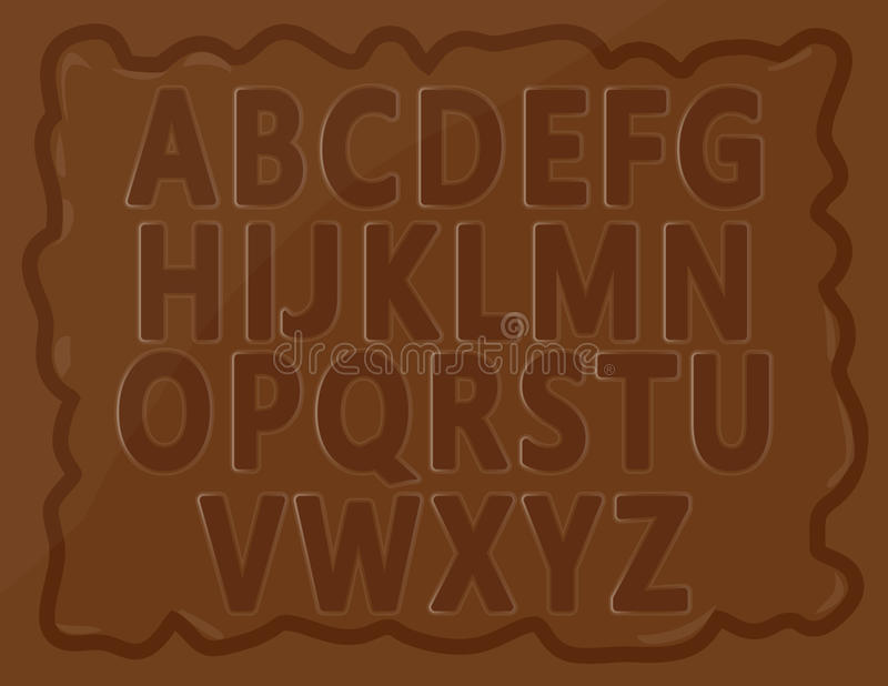 Chocolate Alphabets. English alphabets for kids written on chocolate bar. Well arranged vector eps10 file is included stock illustration