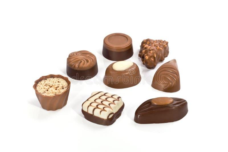 Chocolate assortment stock photos