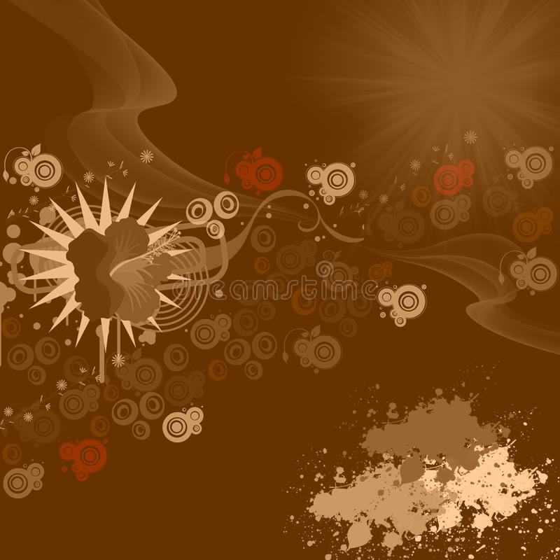 Chocolate background. Circles, flower, waves and sun on chocolate background stock illustration