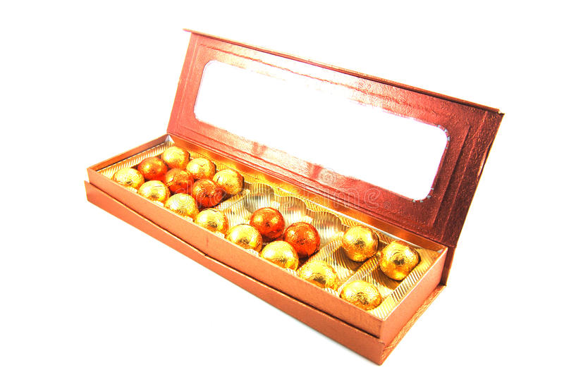 Chocolate ball. In the box royalty free stock image
