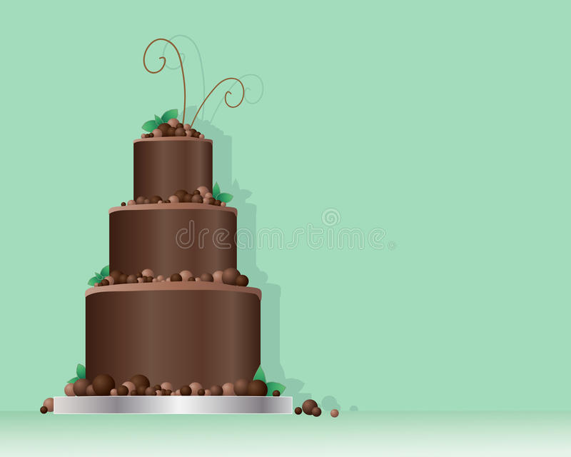Chocolate balls cake. An illustration of a celebration cake in a contemporary design with chocolate balls and mint leaves on a minty green background with space vector illustration