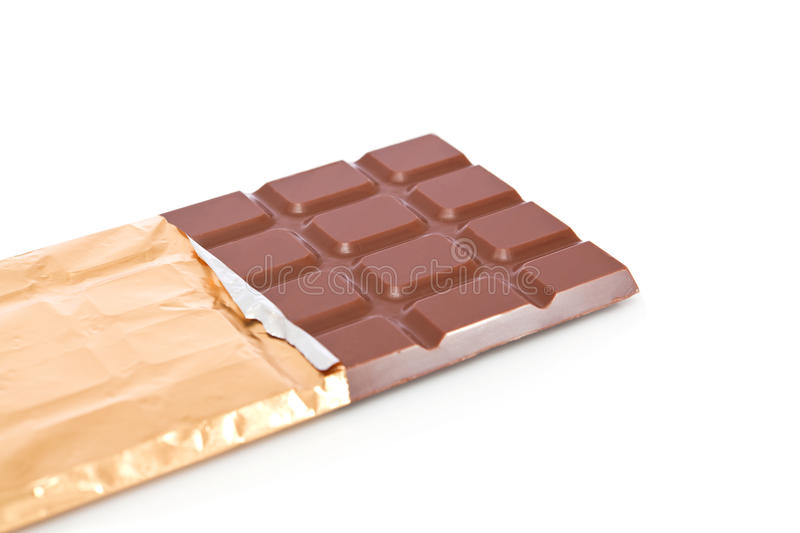 Chocolate bar. In wrapper isolated on white background royalty free stock images