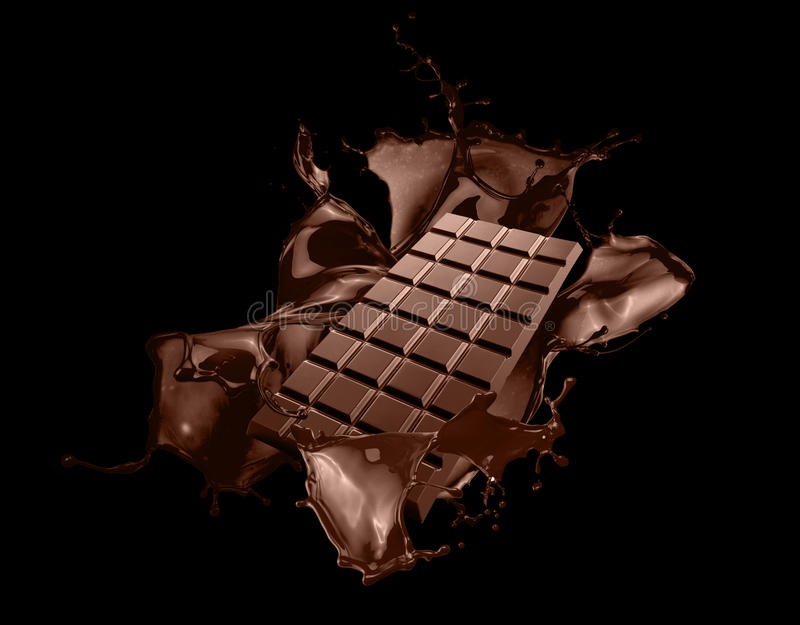 Chocolate bar with chocolate splash on black background stock photography