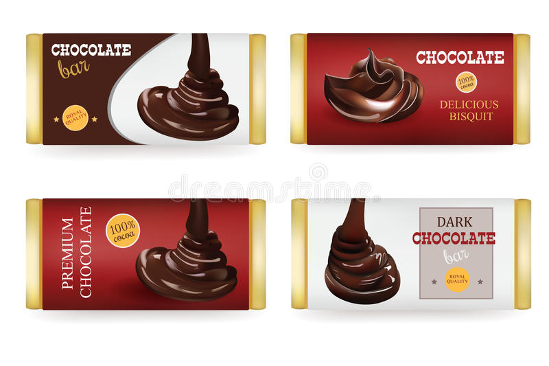 Chocolate bar Design Templates On White Background. Liquid Puoring Chocolate and text on the Packaging royalty free illustration