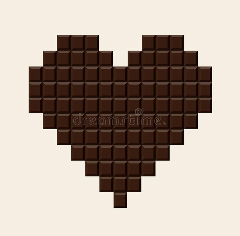 Chocolate bar in heart shape. stock illustration