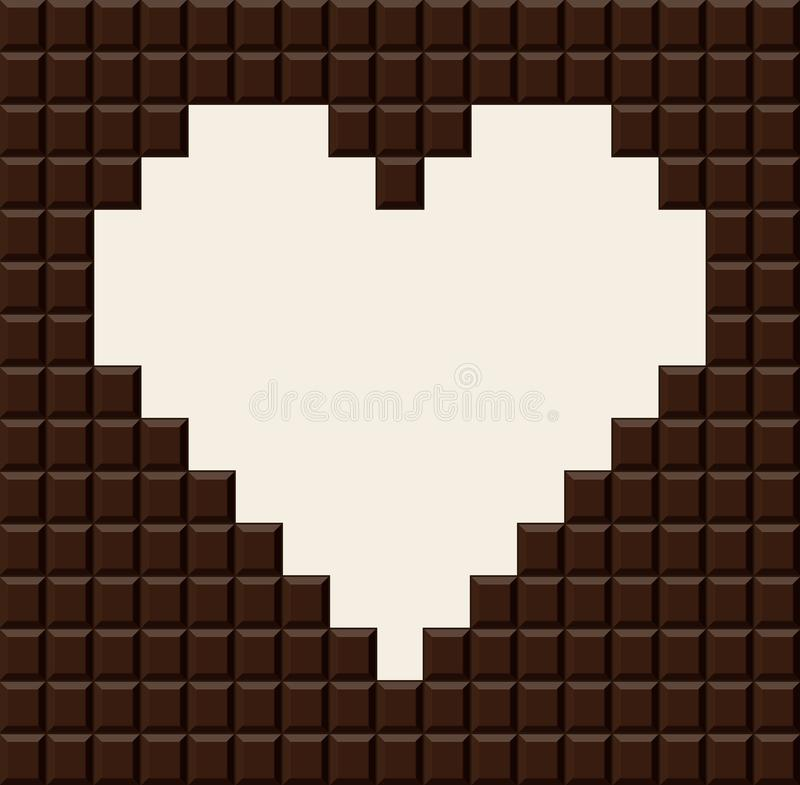 Chocolate bar in heart shape. royalty free illustration