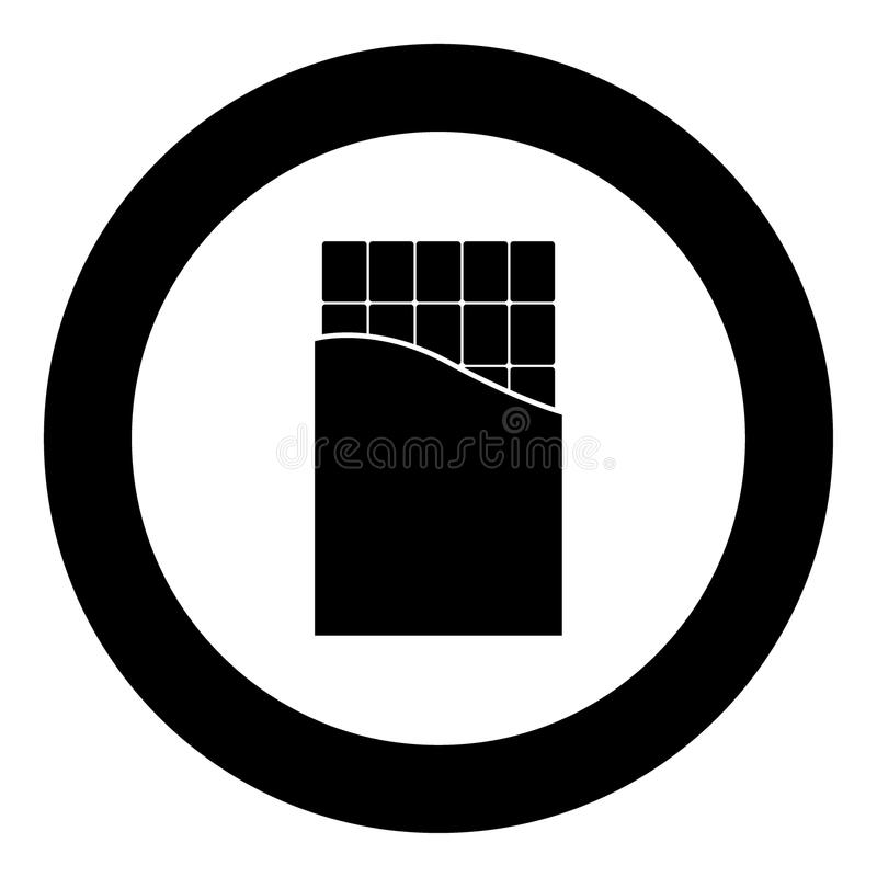 Chocolate bar icon black color in circle. Vector illustration isolated vector illustration