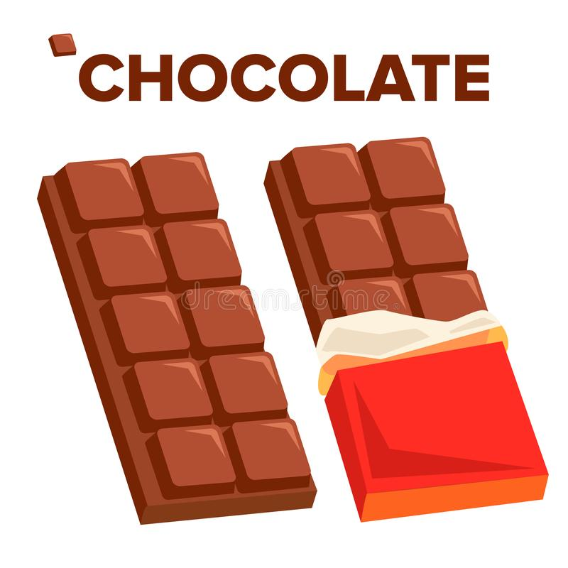 Chocolate Bar Icon Vector. Dark Opened Taste Bar. Isolated Flat Cartoon Illustration stock illustration