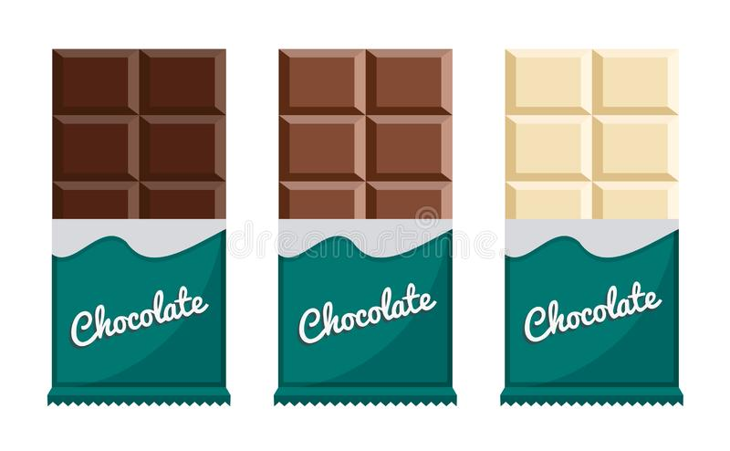 Chocolate bar isolated on white background. Different chocolate bar. Snack food. Food concept. stock illustration