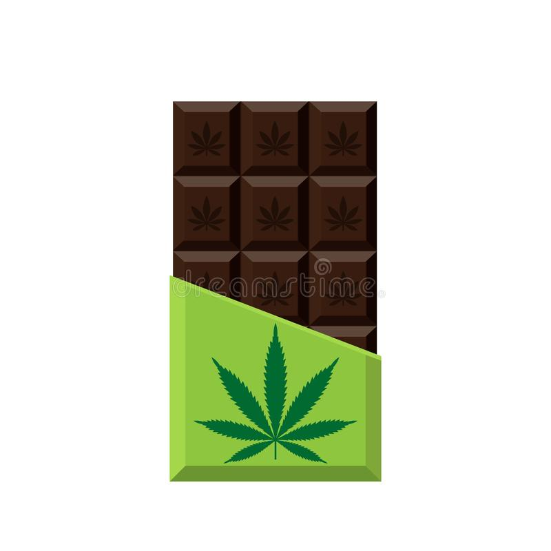 Chocolate Bar with marijuana leaf. Narcotic sweets. royalty free illustration