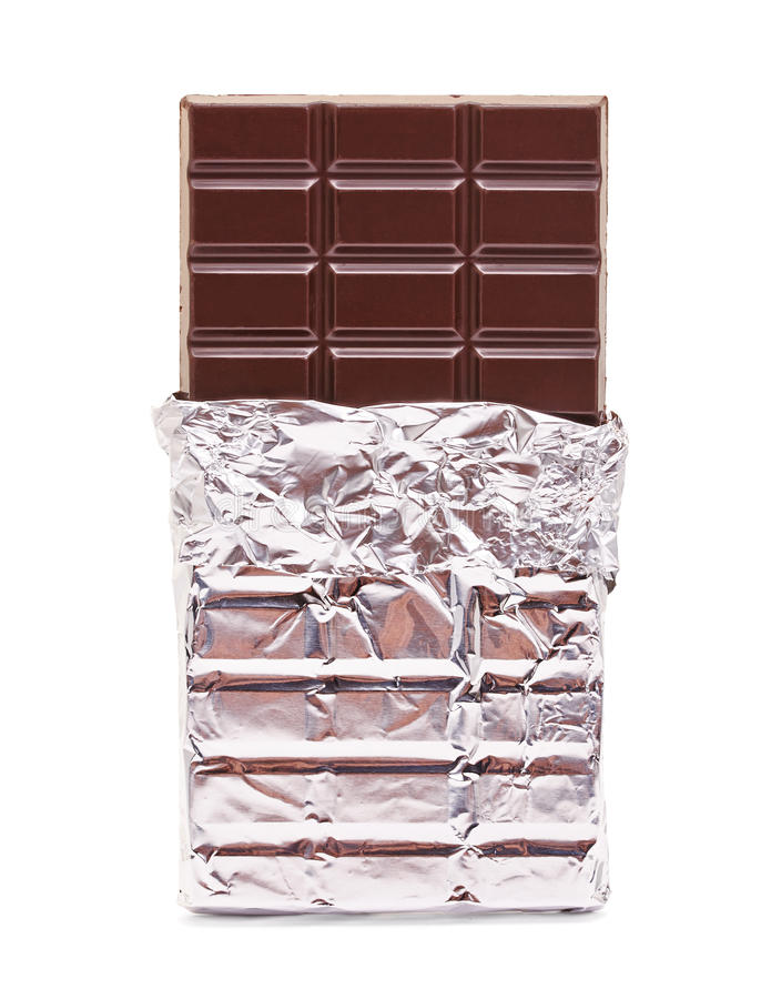 Chocolate bar with open cover. On white stock image