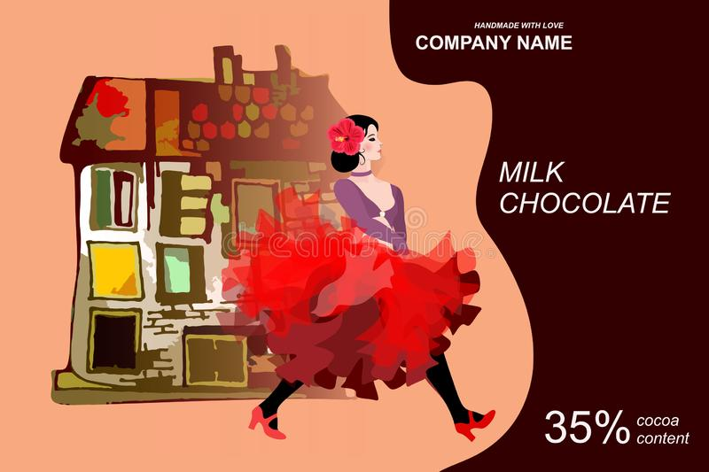 Chocolate bar package design with beautiful girl, dancing flamenco, against fantasy house and guitar silhouette.  vector illustration
