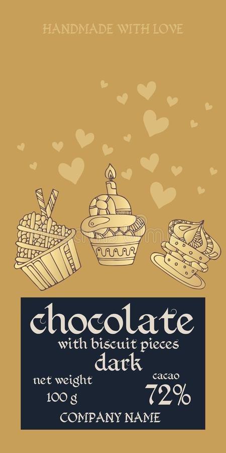 Chocolate bar package design with cupcakes and hearts on golden background. Invitation or greeting card. Easy editable packaging vector illustration