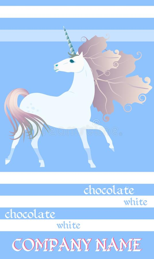 Chocolate Bar Package Design with cute unicorn on striped blue and white background.  Easy editable packaging template vector illustration