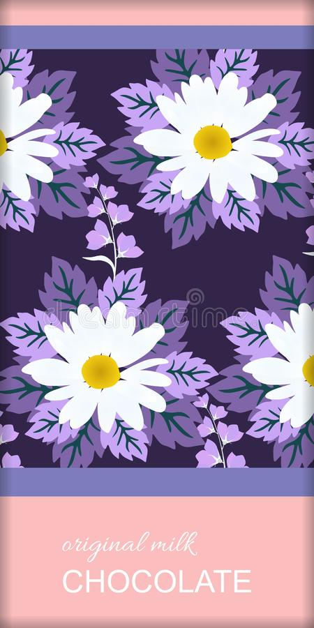 Chocolate bar package design with floral ornament. Beautiful daisy and bell flowers and stylized lilac leaves. On dark purple background. Easy editable vector illustration
