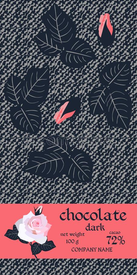 Chocolate Bar Package Design with leaves and buds of roses on dark stylized denim background. Easy editable packaging template.  vector illustration