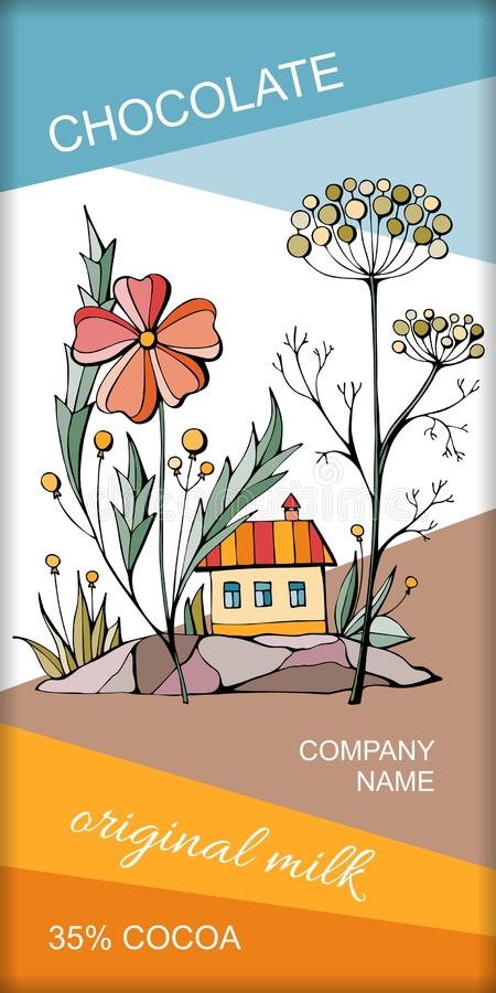 Chocolate bar packaging with beautiful fairy house under big flowers. Magic town. Vector design.  vector illustration