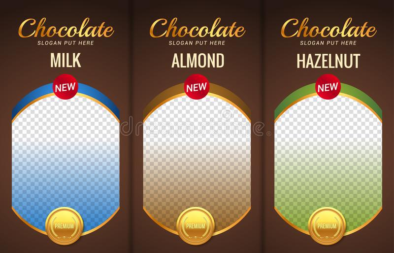 Chocolate bar packaging template design. Chocolate branding product pattern. Vector luxury design package vector illustration