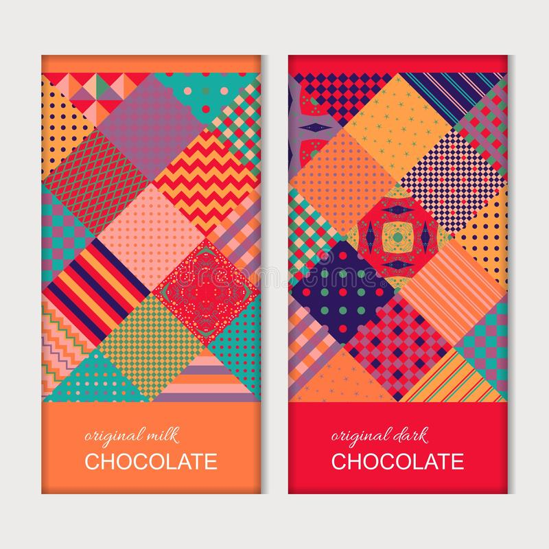 Chocolate bar packaging. Trendy template with bright multicolor patchwork pattern. Colorful geometric ornament. Vector design.  royalty free illustration