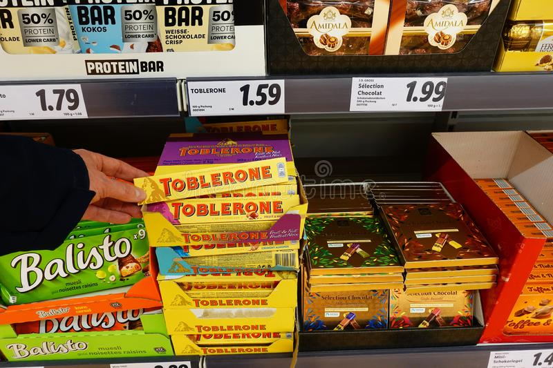 Chocolate bar Toblerone in a shop stock images