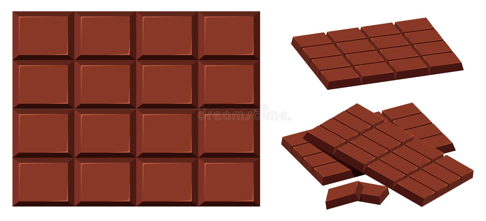 Chocolate bar on white background vector illustration