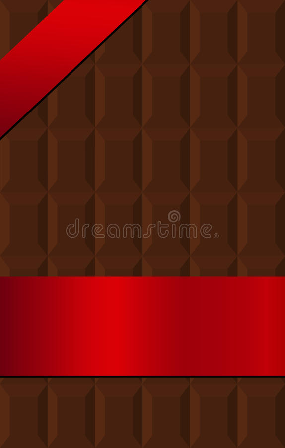 Chocolate bar wrapped in red silk banner royalty free illustration