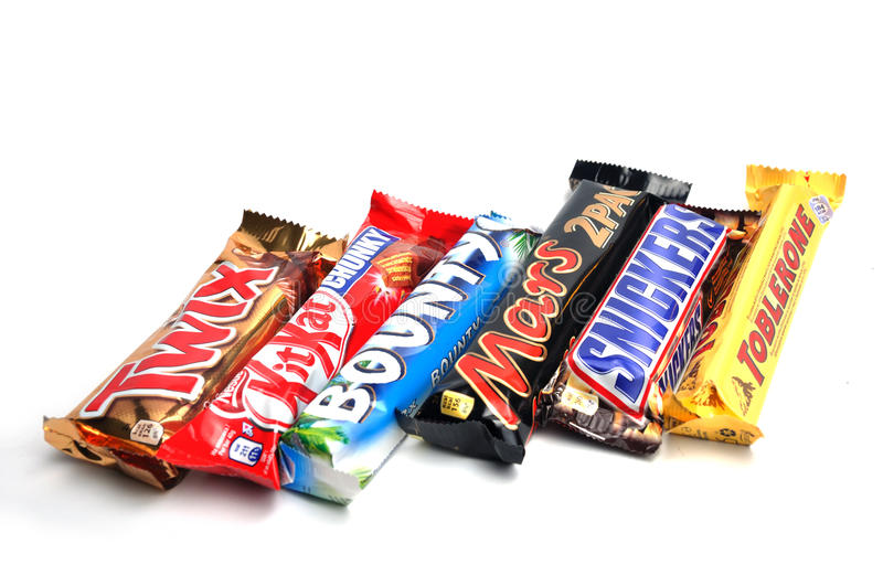 Chocolate bars. Close up of Twix, Bounty, Snickers and Mars toblerone chocolate bars royalty free stock images